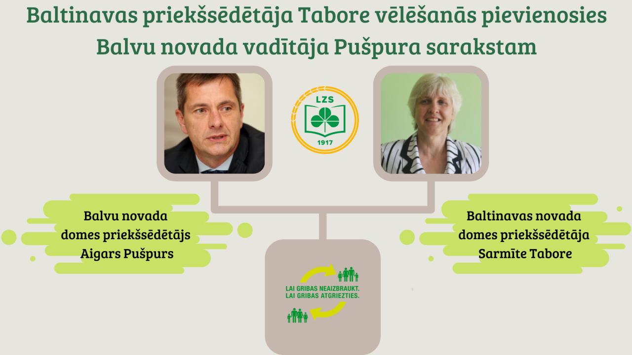 Baltinavas priekšsēdētāja Tabore vēlēšanās pievienosies Balvu novada vadītāja Pušpura sarakstam