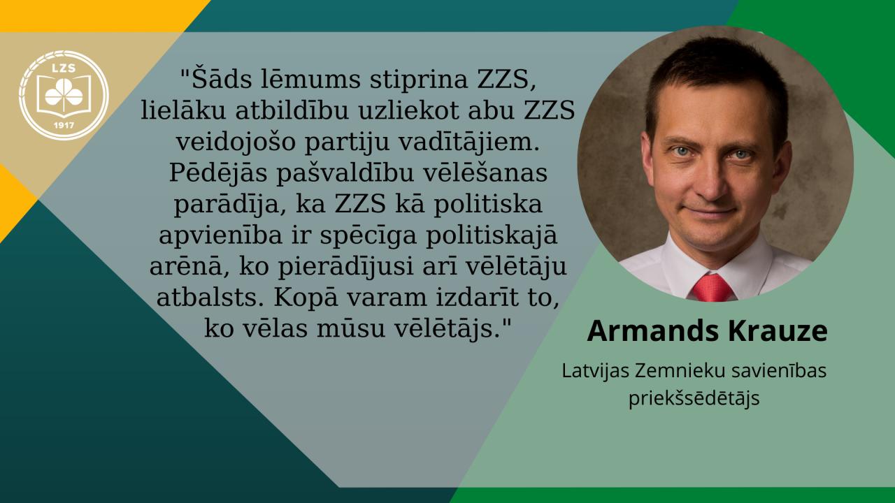 ZZS turpmāk vadīs divi līdzpriekšsēdētāji – E.Tavars un A.Krauze