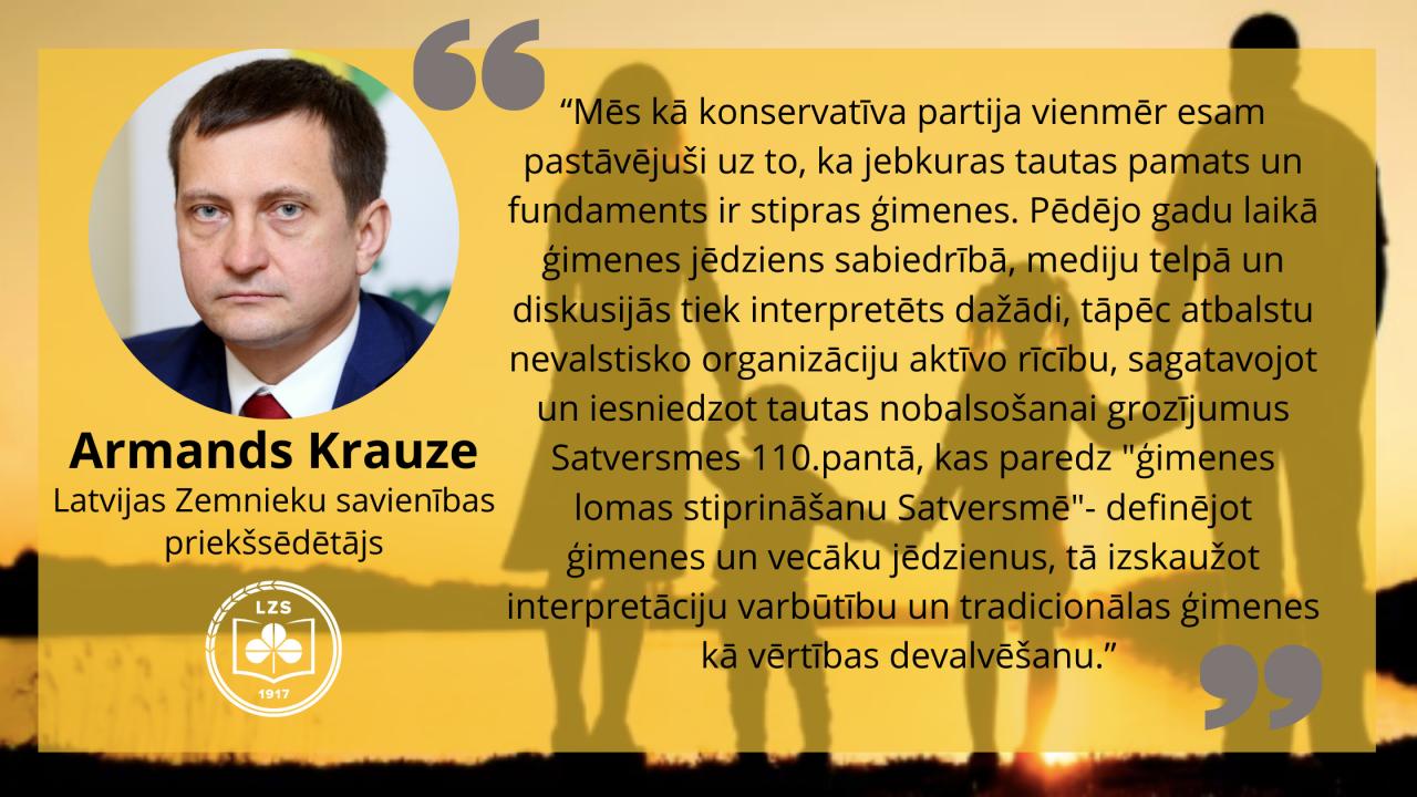 Armands Krauze: Par ģimenes lomas stiprināšanu